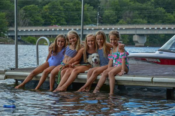 Girls on Dock at Deep Creek Lake