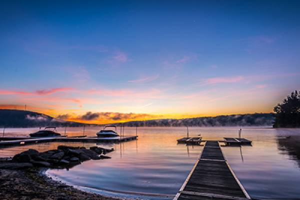 Deep Creek Lake Docks at Sunrise