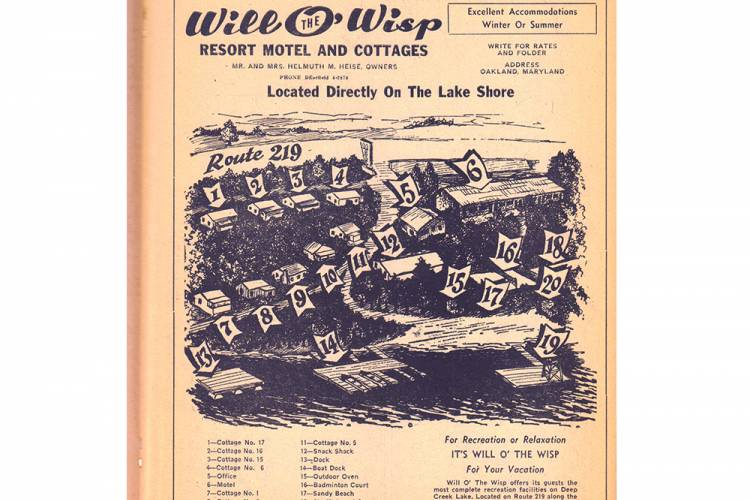 Old Ad for Cottages at Will O' The Wisp